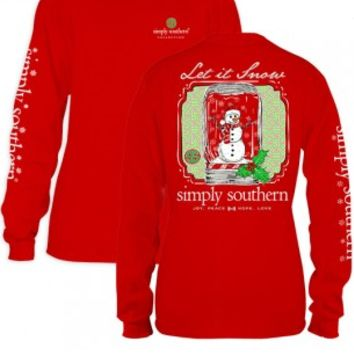 "Simply Southern Adult or Youth ""Let It Snow"" Tee - Red"