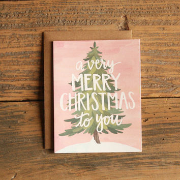 Very Merry Christmas Illustrated Card of 8 Boxed Set