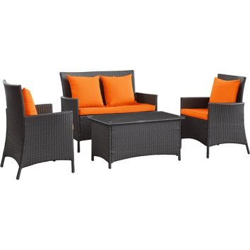 Modern Patio Furniture Flourish 4 Piece Sofa Set Espresso Orange