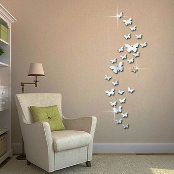24pcs decorative vinyl 3d butterfly wall decor poster vintage wallpaper mirror wall stikers for wall decoration