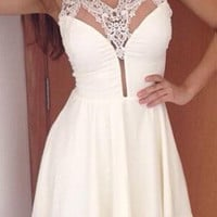 White V-Neck Lace Mini Flounce Dress