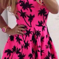Pink Tree Printed Sleeveless Flounce Dress