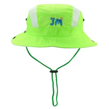 [JAMONT] Polyester children wide brim breathable summer bucket hat baby boy girl mesh sun hat kids fisherman panama with string