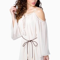 Bohemian Tiered Cold-Shoulder Dress With Belt