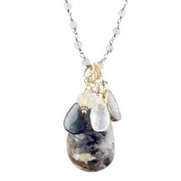 Agate, Druzy, and Dark Aquamarine Cluster Necklace