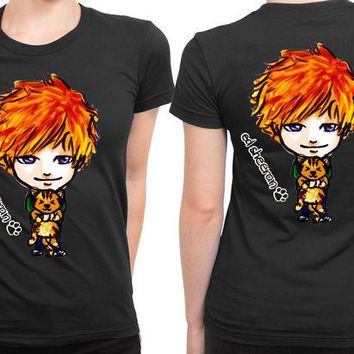 DCCKL83 Ed Sheeran Cartoon With His Cat 2 Sided Womens T Shirt