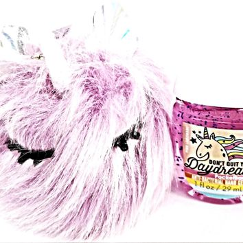 Bath and Body Works Fuzzy Unicorn Holder, Don't Quit your Daydream PocketBac