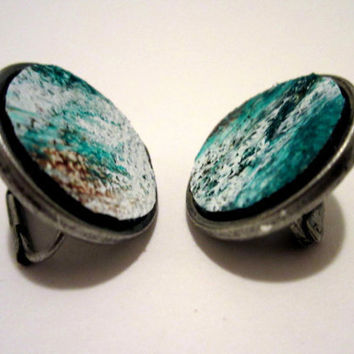 Green, Black, and White leather circle earrings, Posts