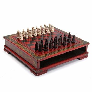 Vintage Chinese Chess With Wooden Coffee Table