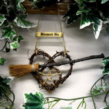 Handmade Pagan Wiccan English Oak Besom & Pentacle Heart. Witch Kitchen Home Blessing./ Handfasting gift.