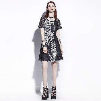 A-Line Dress Black Women Skull Print Lace Hollow Fashion Slim Wild Graffiti Personality Street Goth Mini Dresses