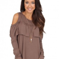 A Ruffle In Time Top in Coco | Monday Dress Boutique