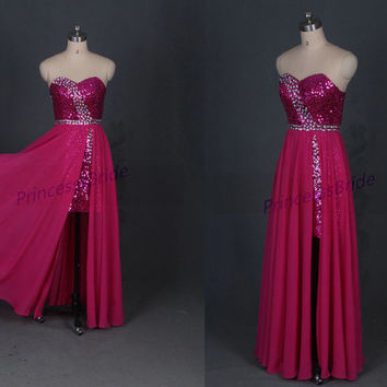 2014 long rose  red chiffon prom dresses with sequins,unique women gowns in handmade,cheap sweetheart dress for homecoming party.