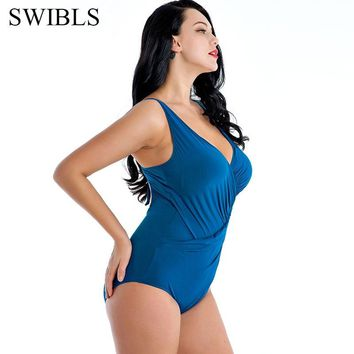 2019 Woman Plus size Swimsuit One Piece White Floral Bathing Suit for Women Big Leaf Swimming Vintage Bather Female Swimwear