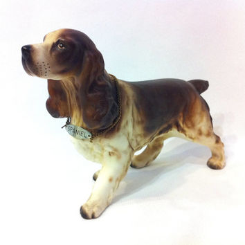 Vintage Cocker Spaniel Dog English Springer Spaniel Figurine Dog Porcelain Dog Miniature Dogs Dog Figure Japan Figurines Pet Dog Tag Gun Dog