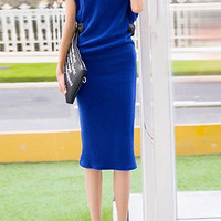 Blue Turtleneck Sleeveless Knitted Midi Dress