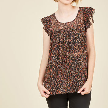 Ruffle Foraging Floral Top in Portobello | Mod Retro Vintage Short Sleeve Shirts | ModCloth.com