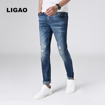 LIGAO Men's Jeans 2017 Slim Lightweight Breathable Patched Elastic Pencil Pants Fashion Beggar Scratched Ripped Hole Men Jeans