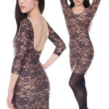 Lace Print Nylon Tricot 3/4 Sleeve Dress | American Apparel