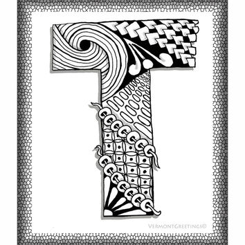 Zentangle T Monogram Alphabet Illustration Art Print by Vermont Greetings