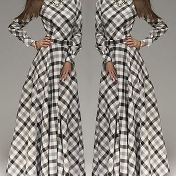 Vintage Plaid Long Sleeve Maxi Dress