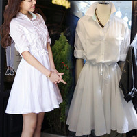 White Roll Up Sleeve Convertible Collar High-Waisted Dress