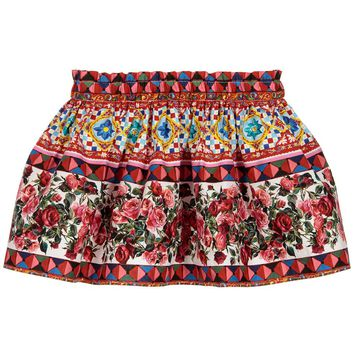 Girls Red 'Carretto Con Rose' Cotton Skirt