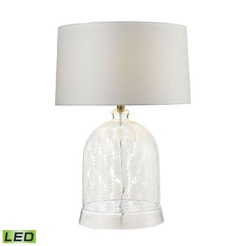 Landscape Painted Bell Glass LED Table Lamp in Clear and White Clear,White