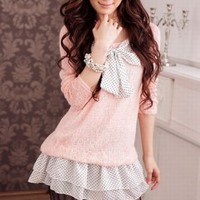 Wholesale Sweet Korean Style Bowknot T-Shirt Pink