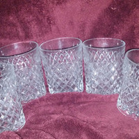 A Lovely Set of Five Diamond Pattern Mid Century Tumblers / Cocktail Glasses / Juice Glasses