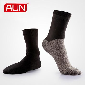 Men's Black Deodorized Breathable  Silver Wired Black Cotton Crew Socks