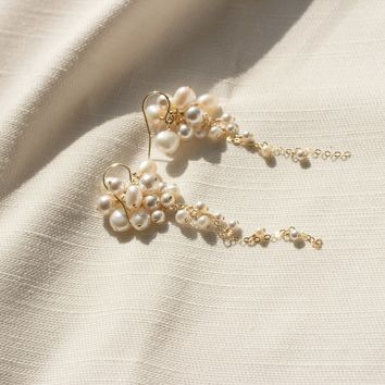 Pearl Cluster Tendril Earrings