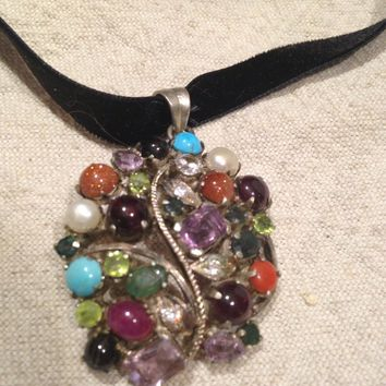 Vintage Real Amethyst, Peridot Blue Topaz Mix Color Gemstone 925 Sterling Silver Flower Necklace
