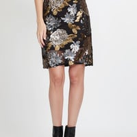 LE3NO Womens Matte Floral Print Sequined Pencil Midi Skirt (CLEARANCE)