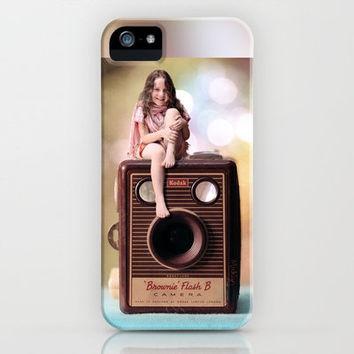 Smile for the Camera - vintage Kodak Brownie camera with miniature girl. iPhone Case by micklyn | Society6