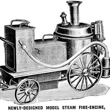 Steam Fire Engine machine clip art Digital image download automobiles firemen art printable vintage illustration graphics
