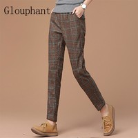 Glouphant 2017 Winter Autumn Woolen British Style Harem Plaid Women's Pants Loose Pants Women Warm Female Long Trousers Women