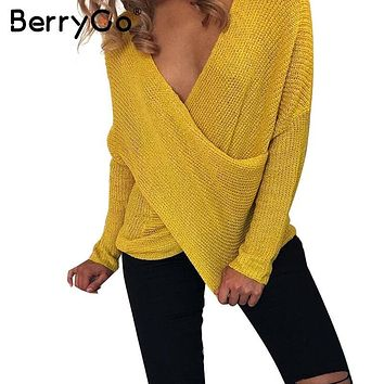 BerryGo Sexy V neck cross knitting winter sweater women Autumn pull knit casual jumper Fashion down sleeve pullover female 2017