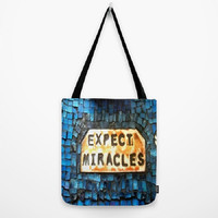 Blue, Miracles, Inspirational, Mosaic Design-Tote Bag - 3 Sizes Available-Baby Shower, Grocery, Beach, Busy Mom, Student-Made To Order-EM#43