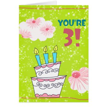 Lime Green 3rd Birthday Cake Card