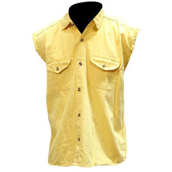 Mens Motorcycle Biker Shirt Yellow Cut Off Sleeveless Cotton Denim Button up