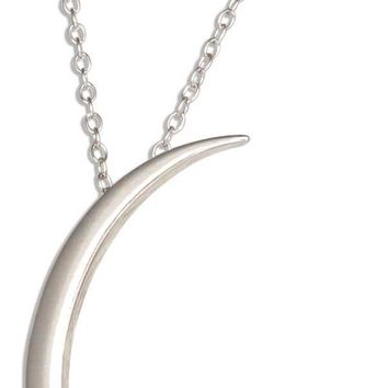 "Sterling Silver Adjustable 16""-18"" Lightweight Crescent Moon Necklace On Fine Cable"