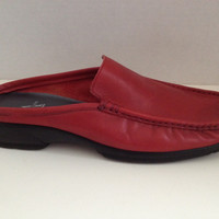 Anne Klein Shoes Womens Size 7.5 M Red Loafers Leather Slides