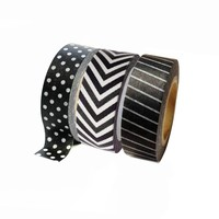 Black and White Washi Tape Collection - Chevron, Stripes, Polka Dots