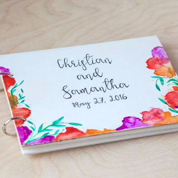 Wedding Guest Book, Wedding Guestbook, Guest Book Personalized, Custom Guest Book, Calligraphy, Watercolor