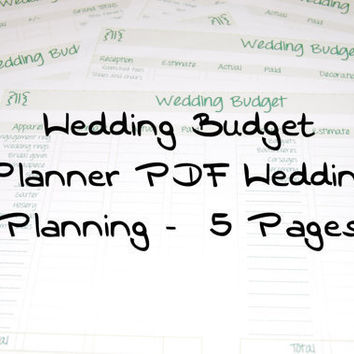 Wedding Budget Planner PDF Wedding Planning by PostScriptPapers