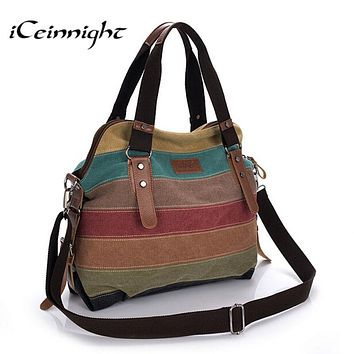 Canvas Striped Women Messenger Bags Casual Tote