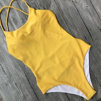 Cross Bandage Backless One Piece Swimsuit for Women