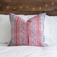 "FREE U.S. SHIPPING - The ""Callie"" Hmong Batik Vintage Textile Pillow"