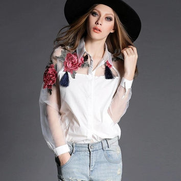 Fashion Blusas 2015 Summer Elegant Women Blouse Flower Embroidery Vintage Shirts Organza Sleeve Tops = 1946528196